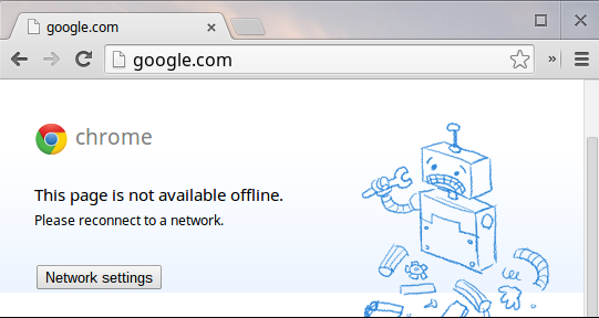 Google Chrome not available offline sample error message