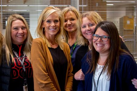 PASS team staff members Keitra Curnutt, Cyndy Grayson, Mary Ann Sturdivan, Dana Preston, and Stacy Gould help struggling students find the help they need.